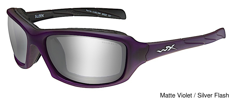 Wiley X Sleek Sunglasses Matte Violet Frame Silver Flash Lens